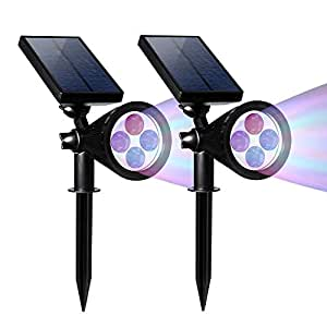 SCOPOW Solar Light, 2-in-1 Adjustable Solar LED Outdoor Spotlight, Multi-Color Wall Light, Waterproof Security Landscape Night Light, Auto On/Off for Patio Deck Yard Garden Driveway Pool Area (2)