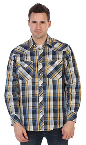 (Gioberti Men's Western Plaid Shirt with Pearl Snaps, Sky Blue/Navy/Yellow Highlight, Size XX-Large)