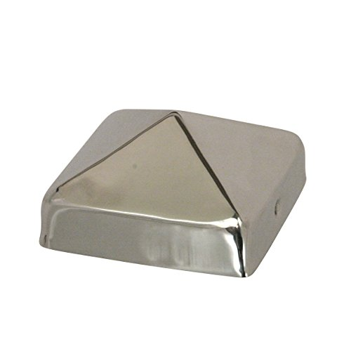 (4x4 Stainless Steel Pyramid Post Cap by Captiva - Extended Lip - Stainless Steel - Will Not Rust - (3-1/2