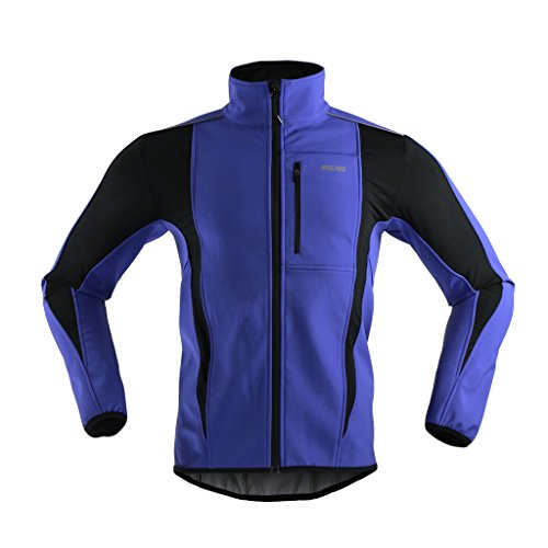 ARSUXEO Winter Warm UP Thermal Softshell Cycling Jacket Windproof Waterproof Bicycle MTB Mountain Bike Clothes 15-K Blue Size XX-Large