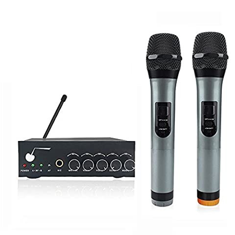 ARCHEER VHF Bluetooth Wireless Microphone System Dual Channel Handheld Microphone Professional Karaoke Singing Machine DJ Mixer for Smart Phone /iPad /PC/Tablet and Other Bluetooth-enable Devices
