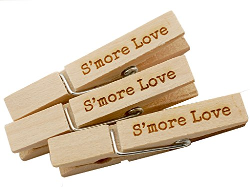 50 Engraved Cards - Summer-Ray 50 S'more Love Wooden Engraved Clothespin Wedding Favors Place Cards Holder
