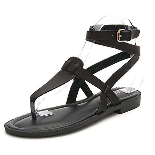 GIY Women's Faux Leather Flip Flop Sandals Comfortable Peep Toe Ankle Strap Casual Flat Sandal Shoes -