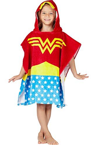 DC Comics 'Wonder Woman' Logo Superhero Hooded Bath Beach Swim Poncho Towel, Red, 4-7 -