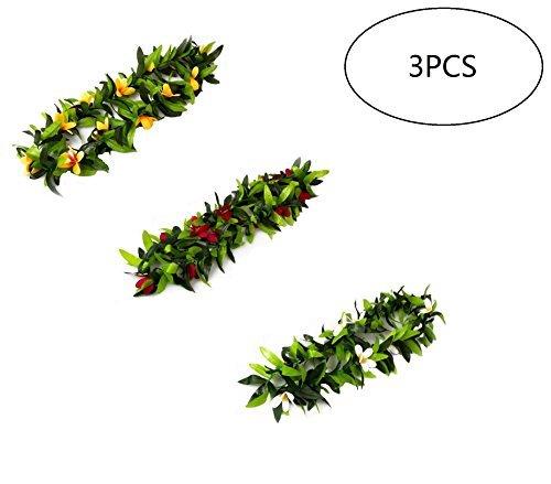 3pcs Tropical Hawaiian Luau Lei Green Leaves for Hawaiian Luau Party Favors ()