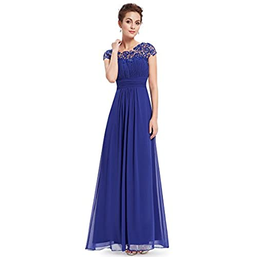 Ever-Pretty Womens Lacey Empire Waist Floor Length Prom Dress 6 US Sapphire Blue
