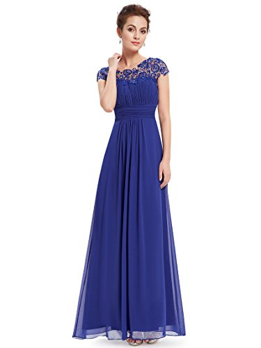 Ever-Pretty Womens Cap Sleeve Lace Neckline Ruched Bust Evening Gown 4 US Sapphire Blue by Ever-Pretty