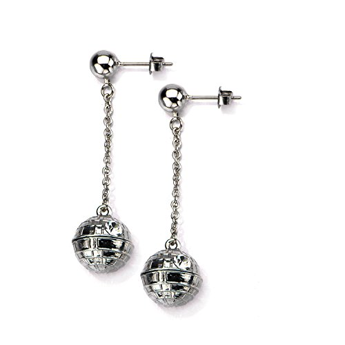 Star Wars 3D Death Star Dangle Earrings with Rhinestones (Wars Lightsaber Earrings Star)