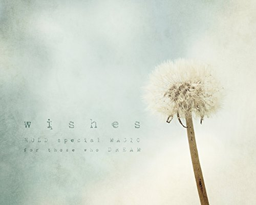 Dandelion Inspirational Quote Nursery Wall Art Home Decor Print, Wishes, Dreams, Magic by Inspired Art Prints