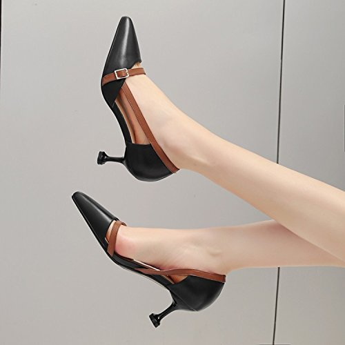 Summer High Shoes Singles Pointed Fine heels Heel Jqdyl Black Sandals Women'S High Heel SI8qwTnxX