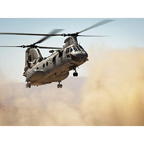 Military USA Marine Corps Helicopter CH-46E Sea Knight Photo Premium Wall Art Canvas Print 18X24 Inch