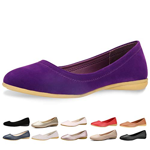 CINAK Flats Shoes Women- Slip-on Ballet Comfort Walking Classic Round Toe Shoes (11 B(M) US/ CN43/ 10.4'', Purple Matte)