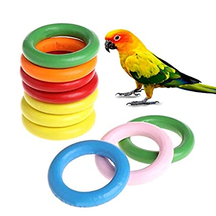 Amazon Com Bird Toys 10 Pcs Bag Wood Rings Parrot Toys