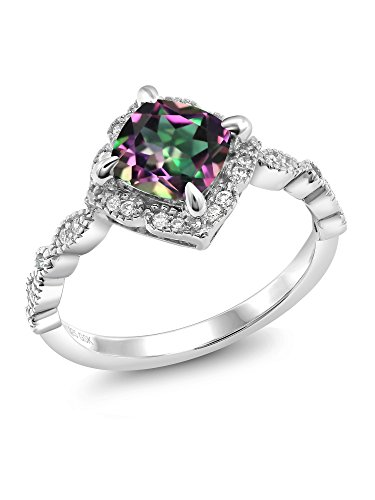 Green Mystic Topaz 925 Platinum Plated Sterling Silver Women's Ring (2.04 Ct Cushion Cut Available in size 5, 6, 7, 8, 9) (Price Platinum Patron)