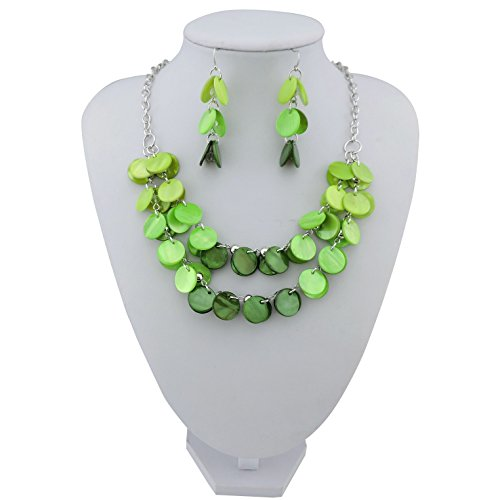 Womens Shell Green (BOCAR 2 Layer Statement Choker Shell Necklace and Earring Set for Women Gift (NK-10248-green))