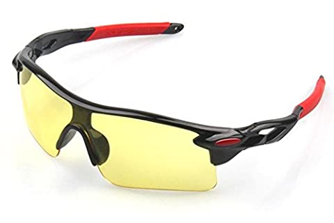 Wonzone Fashion Unisex Shatterproof Windproof Dust-proof UV Protection Night-Vision Sunglasses for Cycling Running Sports Biking Fishing Outdoors (Black Frame Night (Scratch Golf Game Gear)