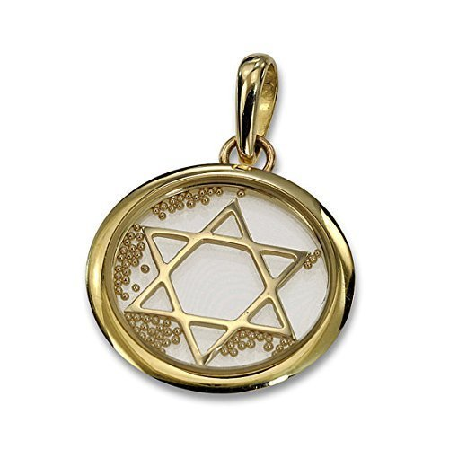 Large 14k Yellow Gold and Crystal Star of David Floating Bead (Floating Diamond Heart Bracelet)