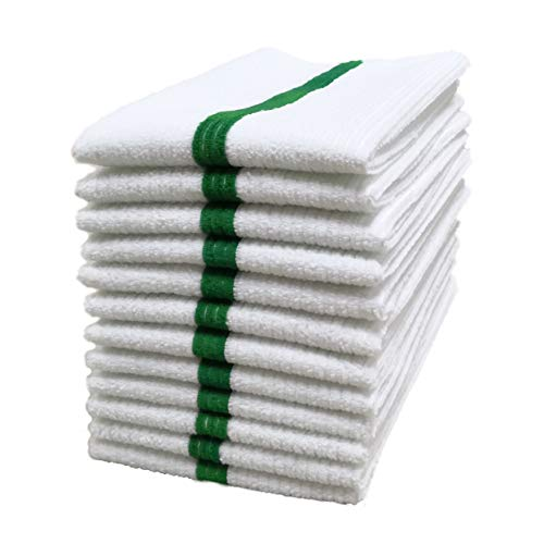 Polyte Microfiber All-Purpose Ribbed Terry Bar Mop Towel for Home, Kitchen, Restaurant Cleaning (14x17, White w/Green Stripe) 12 -