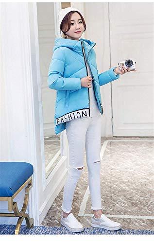 Encapuchado Elegantes Caliente Modernas Manga Pluma Invierno Chaqueta Acolchada Hipster Talla Blau Mujer Larga Chaqueta Plumas Carta Grande Impresión Espesar Huixin Chaqueta ZqSvPwqz