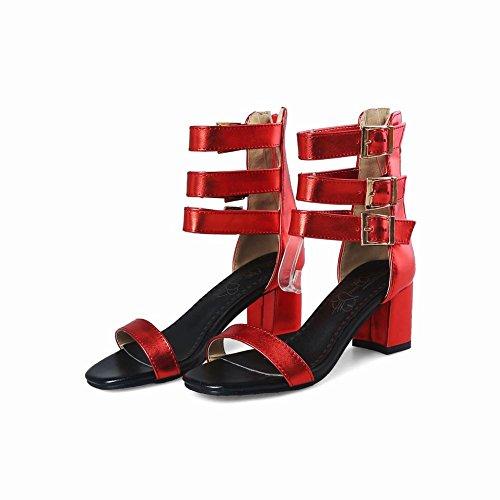 Carolbar Women's Fashion Sexy Block Mid Heel Zip Buckles Dress Sandals Red fydZZN