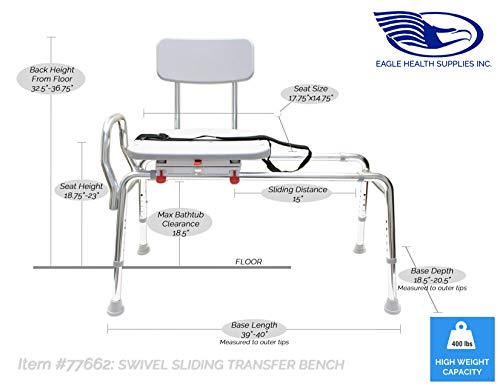 EagleHealth Swivel Sliding Bath Bench (Reg) 77662
