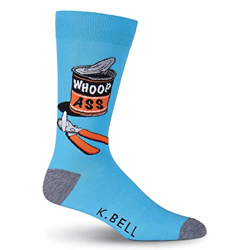K. Bell Men's Play on Words Novelty Crew Socks, Whoop Ass (Blue), Shoe Size: 6-12