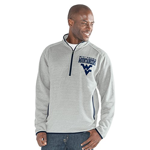 Basketball Virginia Mountaineers Men West - G-III Sports NCAA West Virginia Mountaineers Men's 1 On 1 Quarter Zip Fashion Top, Heather Grey, 5X-Large