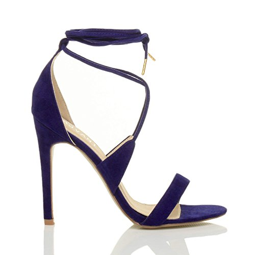 Blue Size Cobalt Tie There Sandals Heel Lace Suede Women Barely up Ajvani High 4xqfPwRawF