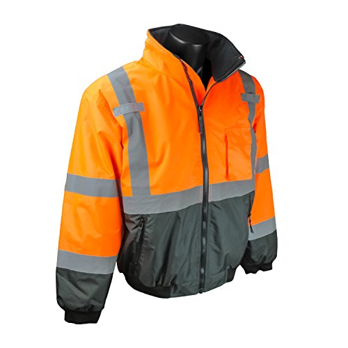(Radians SJ110B-3ZOS-XL Class 3 Two-In-One High Visibility Bomber Safety Jacket, X-Large, Hi-Viz Orange)