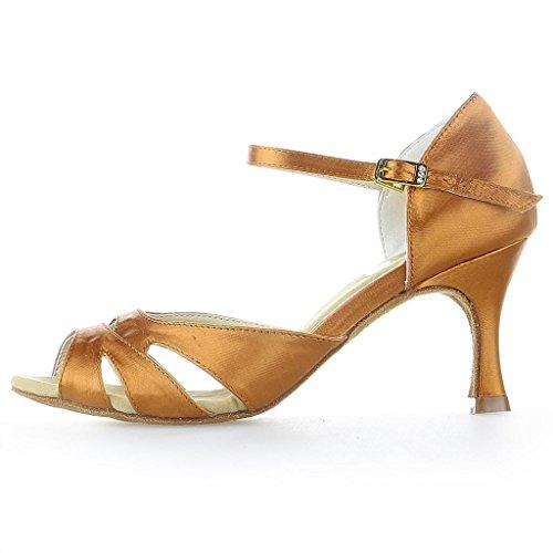 Chaussures Sandales Y2055 Danse Pour vas Couleur Tan 7 Jia Latin Talon De '' Super 2 Femmes Satin qEHBPwU