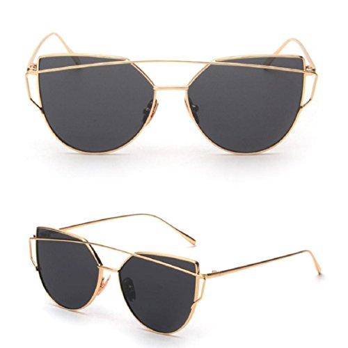 Ikevan 2017 Fashion Retro Twin-Beams Classic Women Metal Frame Mirror Sunglasses Cat Eye Glasses (Gold)