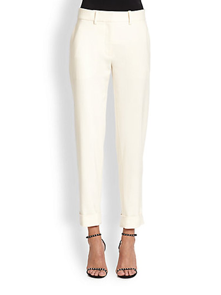 Tamara Mellon Chief Designer Jimmy Choo Cropped Cuff Pants 6 Cream by Tamara Mellon
