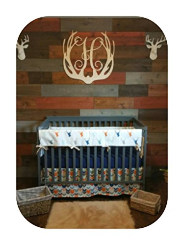 Deer Head and Arrow Boy Crib Bedding in Blue and Orange by Cobalt and Coral