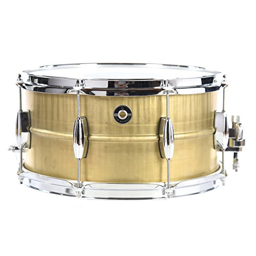 Q Drum Co. 7x14 Gentleman's Brass Snare Drum Raw Finish Raw Brass Hoop