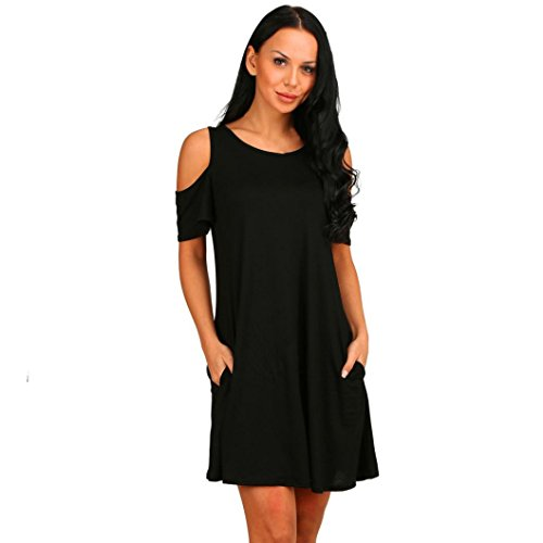 OverDose mujer vestido algodón flojo sólido sin hombros mini vestidos Negro