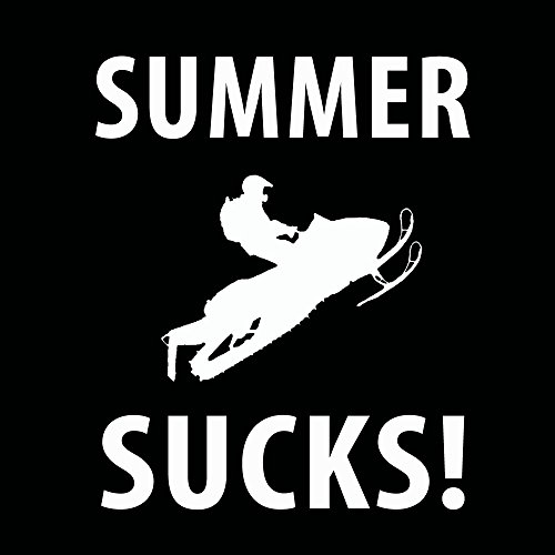 0b80be1bce5a Amazon.com  Summer Sucks Snowmobile Black T-Shirt White Lettering With Saying  Small  Clothing