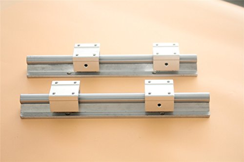 Supported Shaft Rail - CHUANGNENG 2Pcs SBR16 300mm Fully Supported Linear Rail+4x SBR16UU 16mm Slide Block Bearing US STOCK