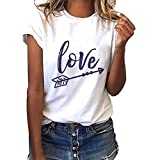 Womens T-Shirt Short Sleeve Love Arrow Printed Casual Tops Summer Crew Neck Tees Tunic Blouse Amiley (X-Large, White)