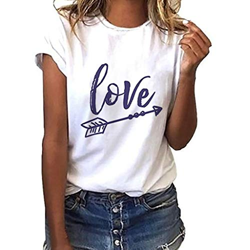 2019 New Women Girls Plus Size Letter Tees Shirt Short Sleeve T Shirt Blouse Tops Under 10 Dollar White]()
