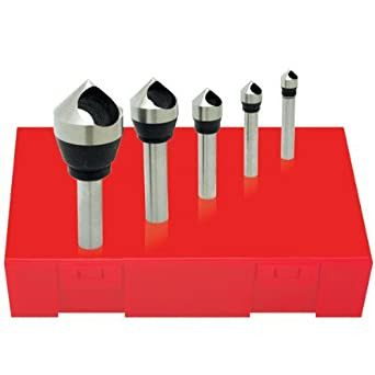 Round Shank 0.65 Body Dia. 3 Flutes 0.394 Shank Dia. TiN Coating Magafor 4833 Series Cobalt Steel Single-End Countersink 120 Degrees