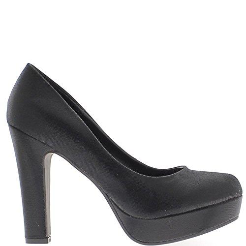Consejos de talón grueso de negro de las mujeres los zapatos de 11,5 cm cojín redondo antes brillante