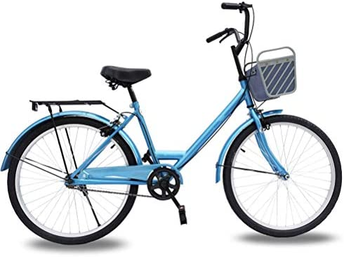 MC.PIG Bicicleta de Mujer Adulta simple-24 Pulgadas Bicicleta de Estudiante de Mujer Lady Princess City Bicicleta de una Sola Velocidad para Mujer Bicicleta de Marco Retro para Adultos con Cesta: Amazon.es: Deportes