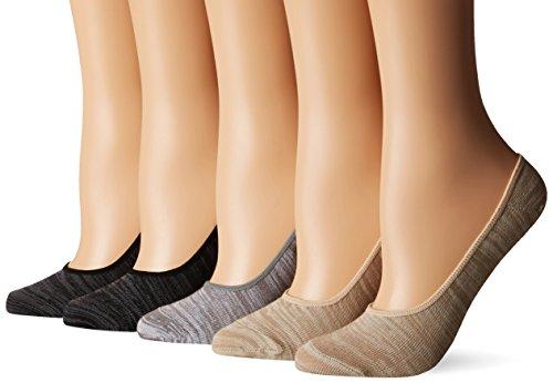 Steve Madden Women's Marl Footie Sock 5 Pack, Black/Ivory...