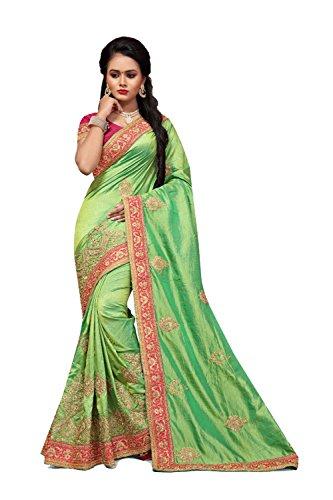 Da Facioun Indian Sarees For Women Wedding Designer Party Wear Traditional Sari. Da Facioun Saris Indiens Pour Les Femmes Portent Partie Concepteur De Mariage Sari Traditionnel. Green 15 Vert 15