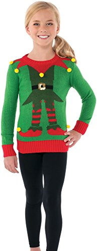 Rubie's Costume Green Elf Ugly Christmas Sweater Costume, One Color, Small