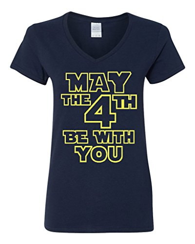 City Shirts V Neck Ladies May The 4Th Be With You Movie Tv Funny Parody T Shirt Tee  X Large  Navy Blue W Yellow