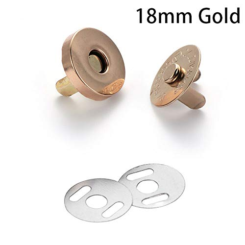 Clothing Accessories Craft Handbag Magnetic Snap Purse Fasteners Clasps Buttons (Size - 18mm Gold)