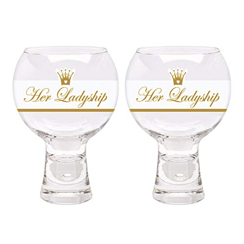 Durobor Decorated Gin and Tonic Glasses - Her Ladyship - 540ml - Pack of 2 Modern Cocktail Wine