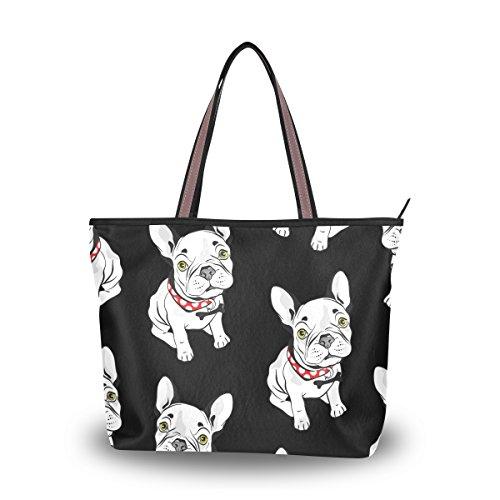 - Women Tote Bag Large Handbag Black and White French Bulldog Shopping Travel Shoulder Bag