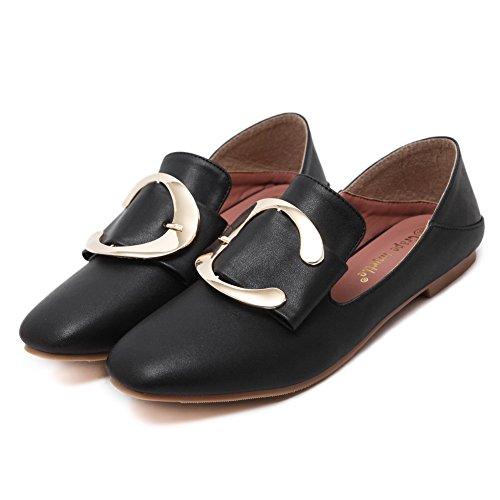 AdeeSu Womens Square-Toe Buckle Low-Cut Uppers Microfiber Flats Shoes Black 5VZoNR8Xo